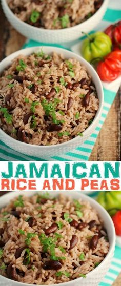 Jamaican Rice and Peas Recipe – Frugal Mom Eh! This Jamaican Rice and Peas recipe is an authentic recipe for a popular side dish to most Jamaican dinner recipes. This traditional recipe uses fragrant thyme and coconut for a rice that is full of flavour! Pea Recipes, Indian Food Recipes, Vegetarian Recipes, Dinner Recipes, Cooking Recipes, Healthy Recipes, Coconut Recipes, Vegan Vegetarian, Flavoured Rice Recipes