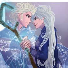 Elsa and Jack Frost! Jelsa by Disney Pixar, Disney And Dreamworks, Disney Movies, Disney Frozen, Disney Kunst, Arte Disney, Disney Fan Art, Jelsa, Jack Frost Und Elsa