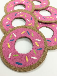 Donut Painted Round Cork Coasters Cork Coasters Cork Drink by tkCo