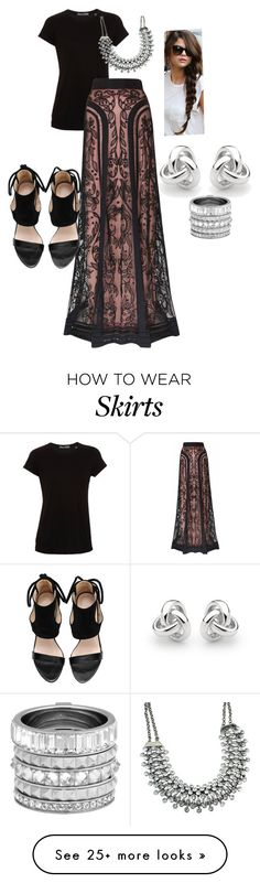 """""""Temperly London long Bertie lace skirt"""" by noraparras on Polyvore featuring Vince, Temperley London, Georgini, Henri Bendel, women's clothing, women's fashion, women, female, woman and misses"""