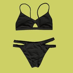 BLACK to basics ♻️ Made seamlessly from recycled fishing nets recovered fro. Cut Out Bikini, Sexy Bikini, Thong Bikini, Bikini Bottoms, Bikini Tops, Bikini For Curves, Cute Swimsuits, Fishnet, String Bikinis