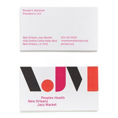 Business cards and visual identity for New Orleans Jazz Market by Original Champions of Design. Branding Agency, Logo Branding, Logos, Identity Design, Visual Identity, Brand Identity, Business Card Design, Business Cards, Brand Guidelines