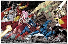 The Avengers vs Count Nefaria by John Byrne. This piece is a tribute to Avengers#165-166.