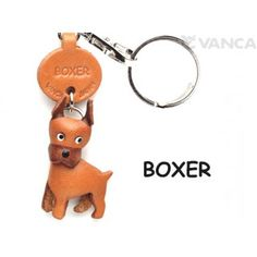 GENUINE 3D LEATHER BOXER DOG KEYCHAIN MADE BY SKILLFUL CRAFTSMEN OF VANCA CRAFT IN JAPAN.
