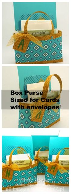 Box Bag Purse with dimensions to make a-2 card Purse.  4 Bags from 2 sheets of DSP and tip for getting side seams to match up.  Stampin' Up! Bohemian Designer Series Paper new for 2015-2016 Catalog