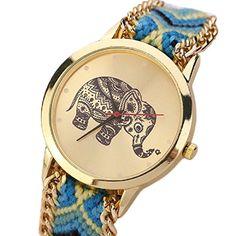 Ularma Damen Armband Uhr Retro Elefanten Muster Exquisit Analog Quarz Uhr Golden Zifferblatt (Gelb+Blau) - http://uhr.haus/ularma/ularma-damen-armband-uhr-retro-elefanten-muster-4