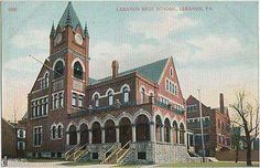 Vintage postcard of Stevens School in Lebanon, PA which became the second Lebanon High School. This beautiful building was demolished in 1968, with the exception of the tower. The tower is now the cornerstone of Stevens Tower Apartments for senior citizens. Tenth and Willow Streets.