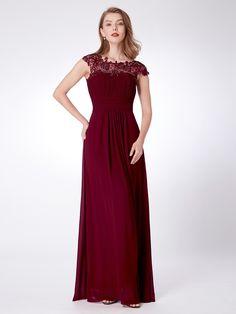 029b63c434 Lace Cap Sleeve Evening Gown. Burgendy Bridesmaid DressesLong Wedding ...
