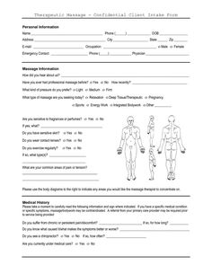 Image result for massage questionnaire for clients