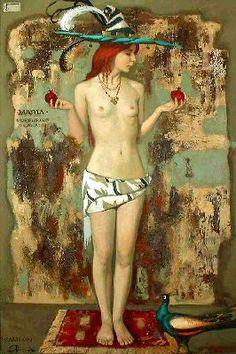 A girl with pomegranates by Igor Samsonov now featured on ArtDealer