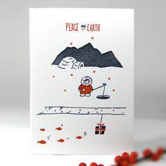 Snowy Inuit - letterpress christmas card / kikisoso