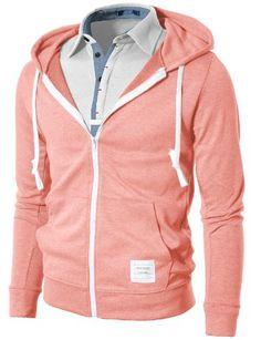 Jiniy Mens Fashion Lightweight Hoodie Zip-Up Hoodie with Various Pastel Colors $17.99 #topseller