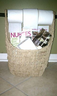 Thirty-one small magazine basket ... great to keep in the bathroom with toilet tissue and magazines!