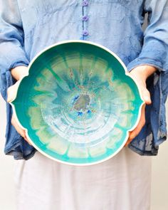 large ceramic serving bowl modern sculptural geometric vessel in Turquoise Sea Arabesque series