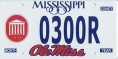 Ole Miss - University of Mississippi Rebels - specialty state license plate