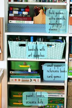 Blog post has a great list of things to have in a craft/project area. Creating Playful Spaces: Setting Up a Child's Project Area