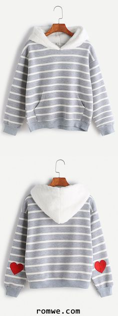 b1b409e54 Striped Sleeve Heart Patch Pocket Sweatshirt With Fuzzy Hood. Valentines  Outfits, Valentine's Day ...