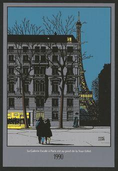 JUILLARD . SÉRIGRAPHIE ESCALE À LA TOUR EIFFEL 1990- 22 X 15 CM