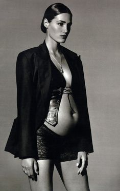 Yasmin Le Bon (pregnant with her daughter Saffron) for Marie Claire Germany by Robert Erdmann, December 1991