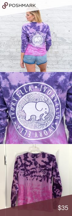 "Purple Ombre Ivory Ella Shirt Brand new ""Neon Purple Ombre"" long sleeve shirt from Ivory Ella. I ended up with two of the same shirt so you'll the one that still unopened in the original packaging (last two photos). First and second photos are the stock photos but the color in real life is not nearly as bright so the 3rd and 4th pictures are of my identical shirt to capture the true color. Size small, but the Ivory Ella sizes run large. Originally $42 plus shipping. Ivory Ella Tops Tees…"
