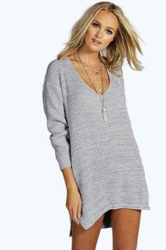 Erica Meliertes Pulloverkleid Mit V-ausschnitt