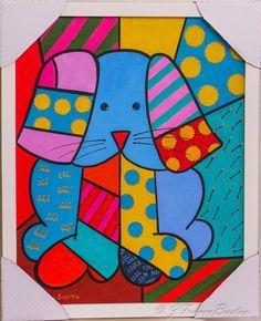 Pintura a óleo- releitura Romero Brito- Cachorro