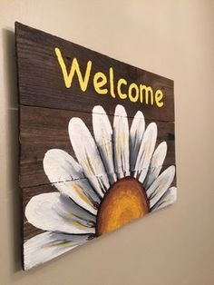 Reclaimed Wood Welcome Sign with White Daisy. by HippieHoundUSA Reclaimed Wood Welcome Sign with White Daisy. by HippieHoundUSA The post Reclaimed Wood Welcome Sign with White Daisy. by HippieHoundUSA appeared first on Pallet Diy. Pallet Painting, Tole Painting, Painting On Wood, Painting Canvas, Wood Paintings, Sign Painting, Painting Walls, Pallet Crafts, Wooden Crafts