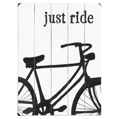 Weathered wood wall decor with a bike motif and typographic quote. Ready-to-hang with included sawtooth hanger.   Product: Wall...