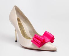 Hot Pink Satin Ribbon Bow Shoe Clips Set Of Two, More Colors Available
