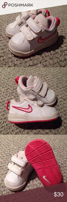 ❌ SOLD ❌ Nike Toddler Girl Sneakers Nike Toddler Girl Sneakers, White/Pink, Size 3, Worn Once Nike Shoes Sneakers