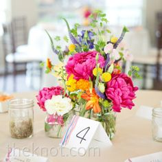 Bright peonies, sweet peas, billy balls, and delphiniums have a fresh-picked vibe for summer wedding Peonies Wedding Centerpieces, Wedding Decorations, Summer Centerpieces, Wedding Reception Planning, Wedding Venues, Floral Wedding, Wedding Flowers, Deco Table, Wedding Website