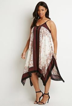 Paisley Print Trapeze Dress   Forever 21 PLUS - 2000184616 paisley print with a contrast floral print, adjustable straps, and a V-cut back.$29.90
