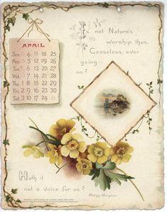 Noble Thoughts from Whittier Calendar for 1897 Calendar Notes, Print Calendar, Vintage Ephemera, Vintage Cards, Vintage Pictures, Vintage Images, Catherine Klein, Vintage Calendar, Vintage Artwork
