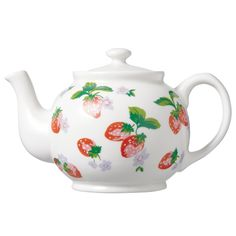 Cath Kidston (1958- ) British / Strawberry Teapot decorated with strawberries and leaves on white body in brown betty shape, porcelain, UK