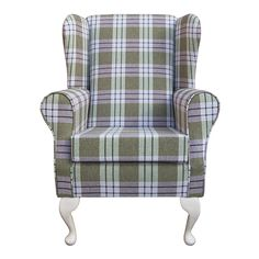 Small Westoe in a Kintyre Sage Tartan FabricAn excellent high quality fireside chair featuring a high quality fabric and Light Oak Coloured Queen Anne Style Legs. Wingback Chair, Armchair, Oak Color, Light Oak, Queen Anne, Accent Chairs, Furniture, Home Decor, Style