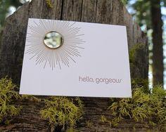 hello, gorgeous. letterpress card by wild ink press $4.50