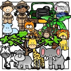 Zoo and jungle clip art! This 37 piece clipart bundle features a variety of jungle and grassland wild zoo animal clipart graphics! The bundle includes a hippo, elephant, rhino, lion, tiger, monkey, giraffe, zebra, safari jeep, safari kids (in 3 skin tones), vine, grassland tree and a palm tree!