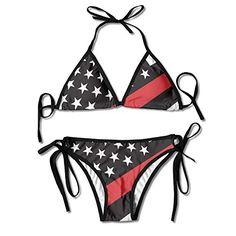 JH SPEED Womens Sexy Bikini Straps 2 PCS Thin Red Line Sw...