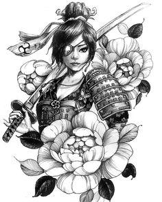 Chronic Ink tattoo Cindy asian-style tattoo female samurai with eye patch - Twin day ideas for school - Geisha Drawing, Geisha Art, Japanese Geisha Tattoo, Japanese Tattoo Designs, Anime Tattoos, Girl Tattoos, Female Samurai Tattoo, Tattoo Female, Guerrero Tattoo