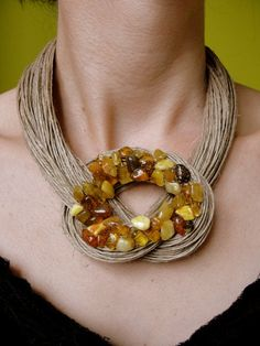 Organic necklace - amber rosette, unique mosaic from Jewelry&Hand Made by DaWanda.com