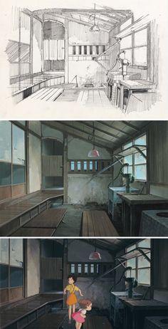 Кадзуо Ога (男鹿 和雄) «Мой сосед Тоторо» (となりのトトロ) Студия Гибли (スタジオジブリ), process, pencil drawing