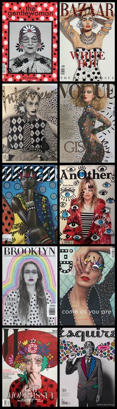 """São Paulo-based artist Ana Strumpf is the illustrator behind the series """"Re.Cover"""" in which she customizes magazine covers using only Sharpies and DecoColor pens to reinvent the faces of actors, musicians and political icons 