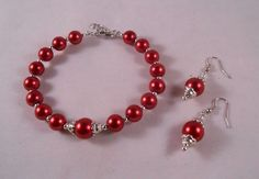 Red and Silver Glass Bead Set