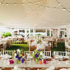 Square tables are a BIG trend this year & the bistro lights give it great lighting! #Wedding #OutdoorWeddings