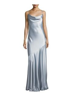 Halston Bias-Cut Satin Evening Gown