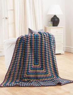 Quick and Easy Jeweled Rectangle Granny Square Afghan