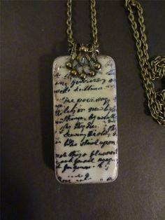 Lost Love Letter Domino Pendant Repurposed by pendantparadise