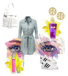 """""""#adidas# Jean dress# white bag#"""" by asydim on Polyvore featuring LE3NO, adidas, Tory Burch, Mansur Gavriel, Victoria's Secret and Christian Dior"""