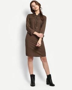 Buy Olive Cloak Shirt Dress Online at StalkBuyLove  34418e324