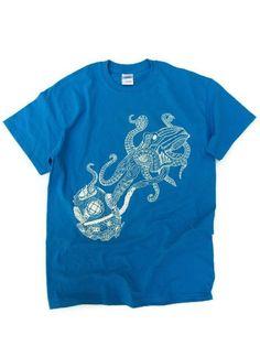 Mens T shirt Octopus and Vintage diving helmet Nautical original design OOAK black white undersea image art t shirt wearable art